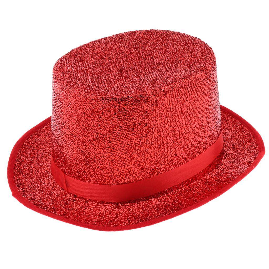 Kids Adults Glitter Sequins Top Hat Magician Gentleman Fancy Dress Party Hat