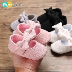 ReaKids 0-24 Tháng Bé Gái Giày Thoải Mái Bow Thời Trang Đầu Tiên Walkers Kid Giày Sơ Sinh Căn Hộ Giày Miễn Phí Vận Chuyển