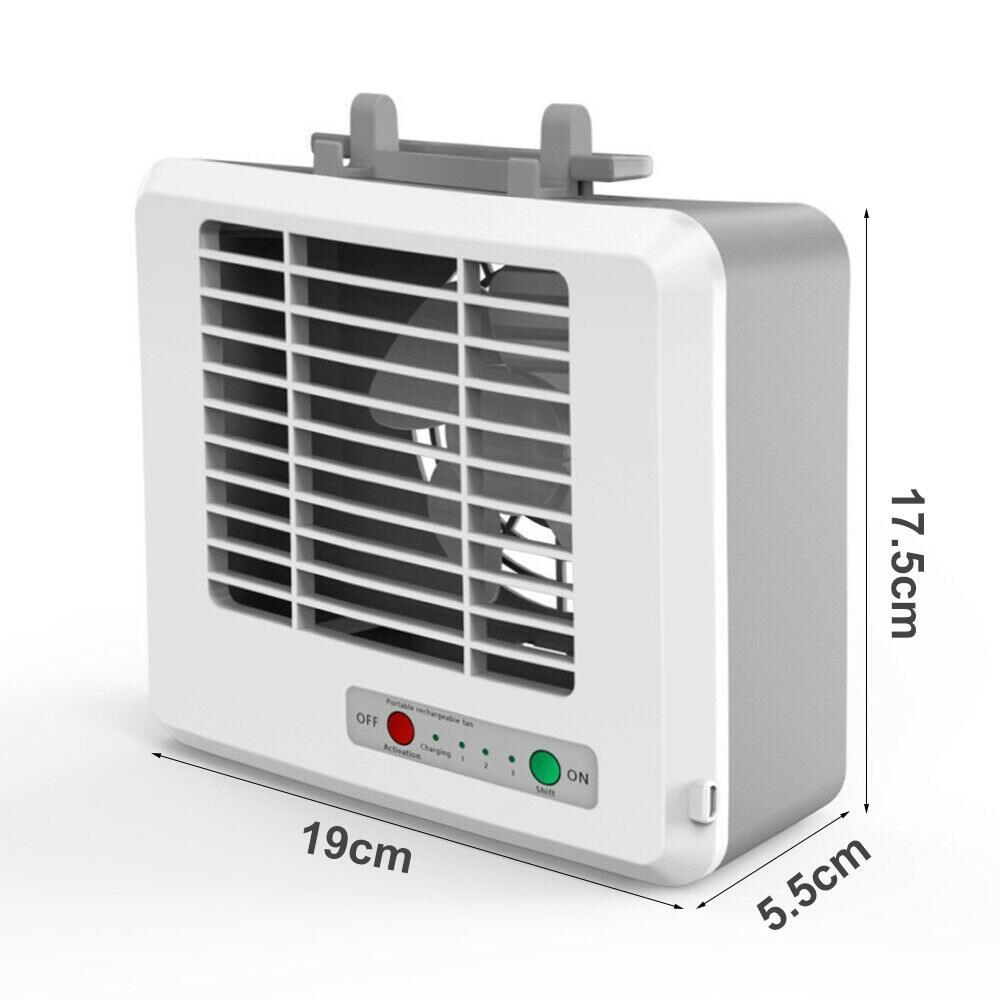 Mini Portable Square USB Rechargeable Mute Home Office Desktop Fan Air Cooler White