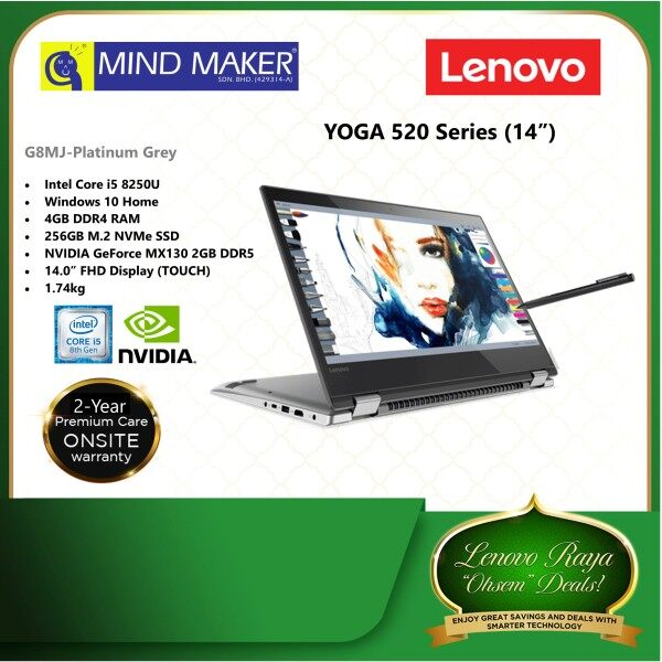 Lenovo Yoga 520-14IKB 81C800G8MJ Grey 14  FHD Touch Laptop (i5-8250U/ W10/ 4GB/ 256GB SSD/ NVIDIA MX130/ 2 Years Onsite Premium Care Warranty Malaysia