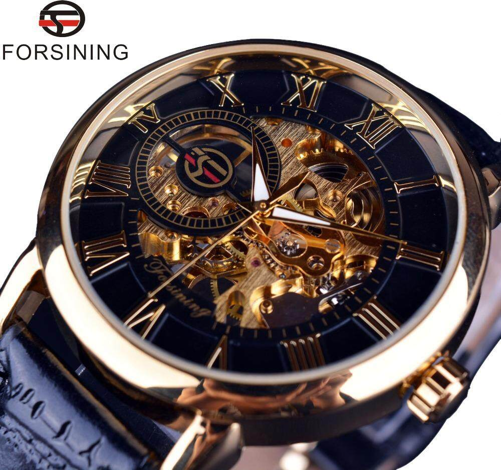 [Fast Shipping][Local Seller ]FORSINING 100% Original New Top Brand Luxury Automatic Mechanical Watch Skeleton Transparent Sports Wrist Watches For Men Malaysia