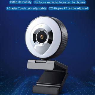 Webcam Lấy Nét Tự Động HD 1080P, Làm Đẹp Ánh Sáng Webcam Video Có Mic, Để Phát Trực Tiếp thumbnail
