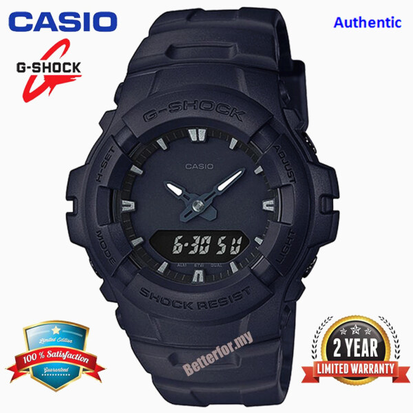 Original G Shock G100 Men Sport Watch Dual Time Display 200M Water Resistant Shockproof and Waterproof World Time LED Auto Light Sports Wrist Watches with 2 Year Warranty G-100BB-1A Black (In Stock) Malaysia