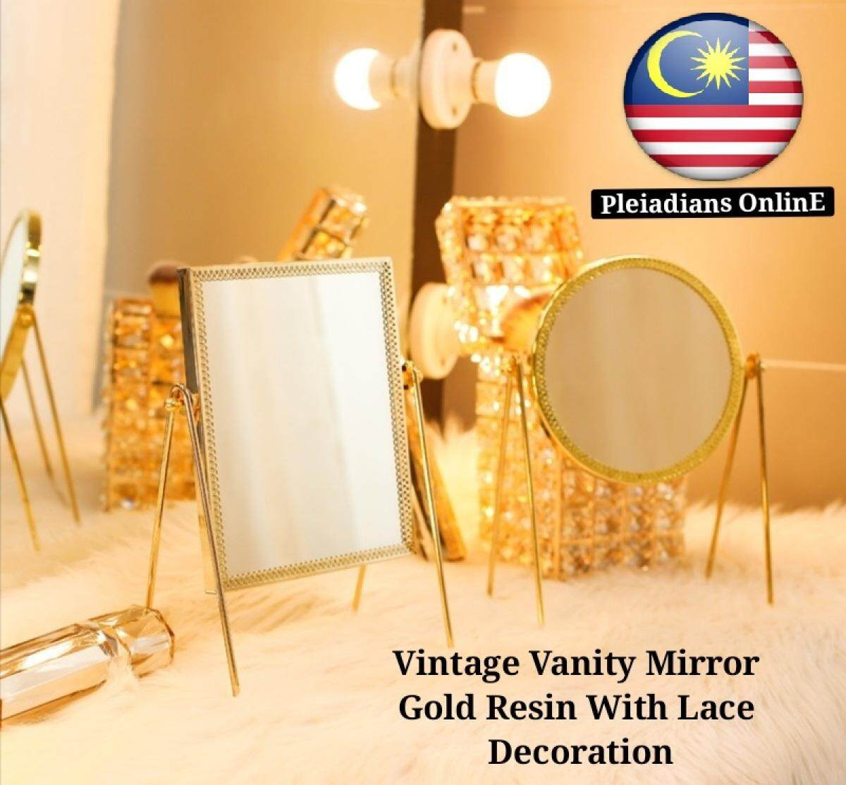 Ready Stock Vintage Vanity Mirror Gold Resin Rectangle Round With Lace Decoration Mirror Lazada