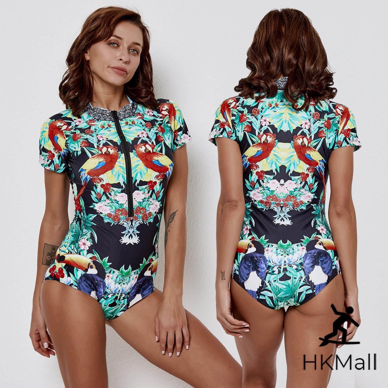 854c75a22c1d5e HK Mall Women Rashguards Print Short Sleeves Rash Guard Front Zipper One  Piece Beach Bathing Suit