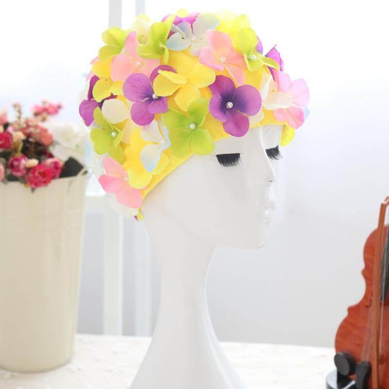 Phụ Nữ 3D Cánh Hoa Nón Bơi Mũ Tắm Nữ Bể Bơi Nón Cói Hoa
