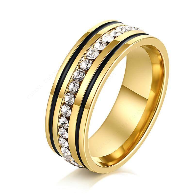Stainless Cincin Baja Tahan Karat untuk Wanita dengan Lingkaran CZ Simetris Hirarki Perhiasan Fashion, US Ukuran 6-12