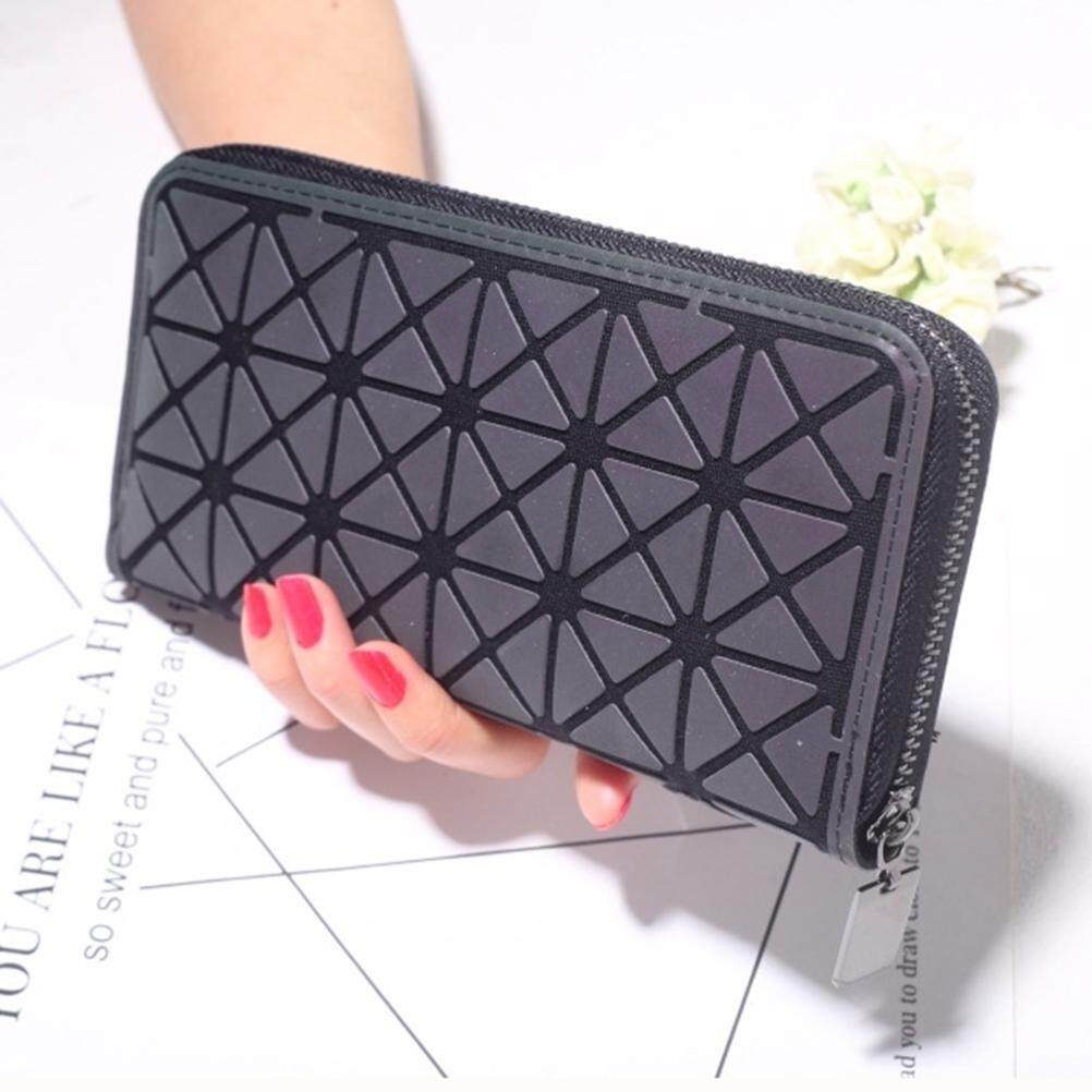 Rovo-Women Geometric Rhomboids Lattice Zipper Long Wallet Purse Geometric Rhomboids Lattice Wallet