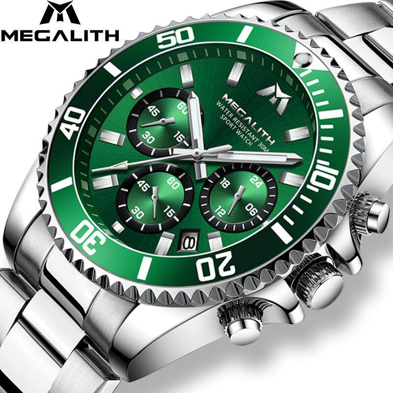 MEGALITH Watches Men【GENUINE】Luxury/ Sports/ Chronograph/ Waterproof/ Analog/ 24 Hours Date/ Quartz/ Full Steel/ Wrist Watches/ Clocks Malaysia