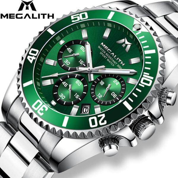 Global hot sale Jam tangan lelaki MEGALITH Luxury Watch for man Sports Chronograph Waterproof men watch Analog 24 Hour Date Quartz Watch Men Full Steel Wrist Watches Malaysia
