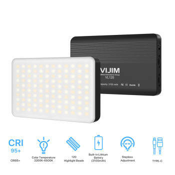 VIJIM VL120 Bi-color Temperature Mini LED Video Light 3200K-6500K Photography Fill-in Light Dimmable CRI95+ Built-in Rechargeable Battery with Silicon Cover Cold Shoe Mount Adapter Color Filters