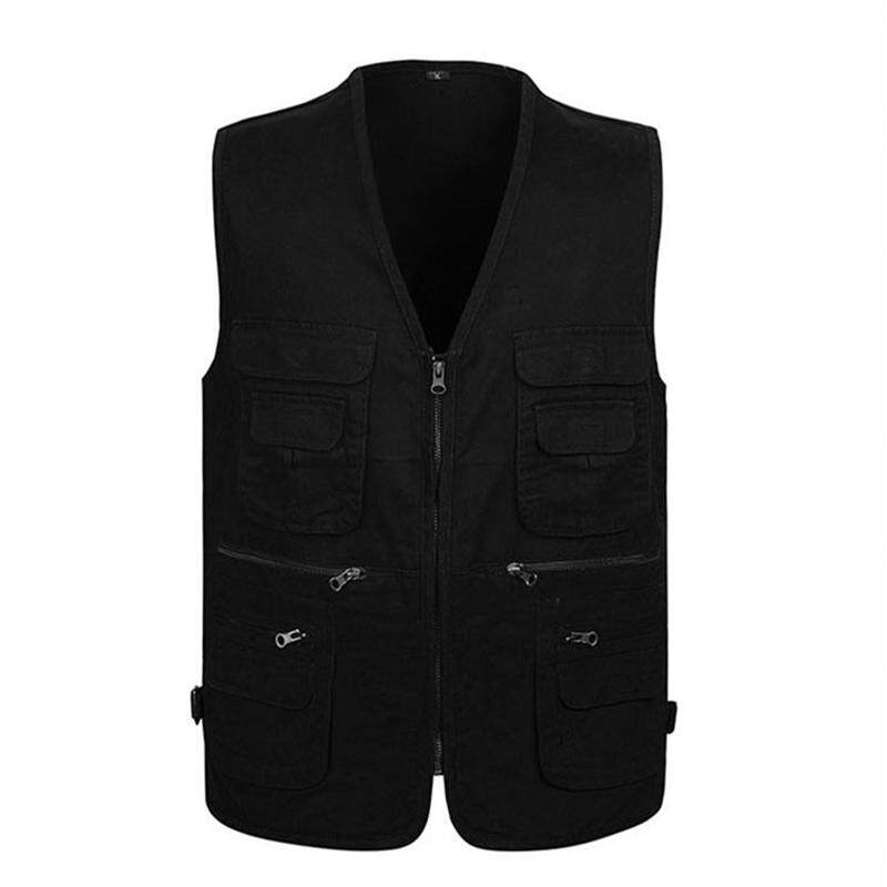 Middle-aged vest spring and autumn casual outdoor vest photography cotton vest men's clothing