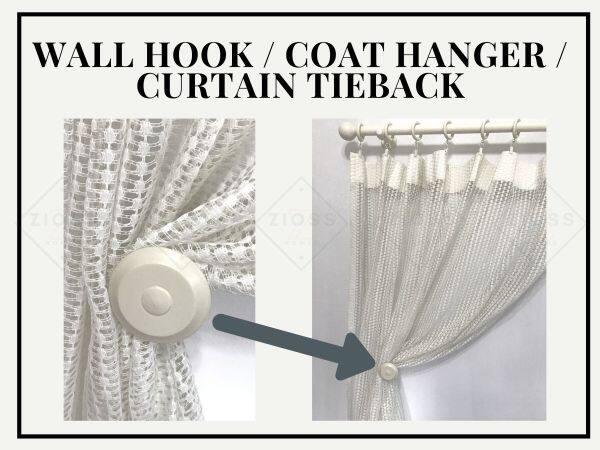 Wooden Wall Hook / Coat Hanger / Curtain Tieback | Heavy Duty | (2 pieces)