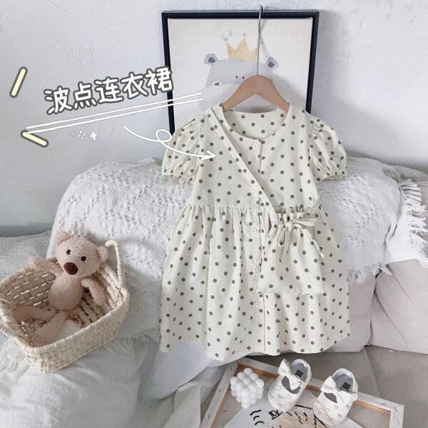 Giá bán Đầm Mùa Hè Cho Bé Gái, Đầm Trẻ Em Thường Ngày Chấm Bi Ngắn Tay Kiểu Hàn Quốc 2021 Mới