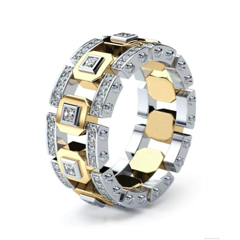 9370b779b412b Men 14K Gold Plated Square Diamond Ring AAA Cubic Zircon Rings Women  Stainless Steel Ring Wedding Engagement Band Ring Jewelry Lover Couple Gift