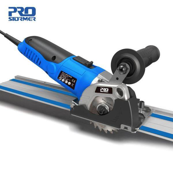 PROSTORMER Mini Circular Saw 500W 220V Adjustable Speed Electric Saw 3 Blades DIY Power Tools Wood Cutter Guide Ruler Fixed Saw For Cutting Wood Metal Tile Cutter Plunge Cut Track Electric Saw Power Tool