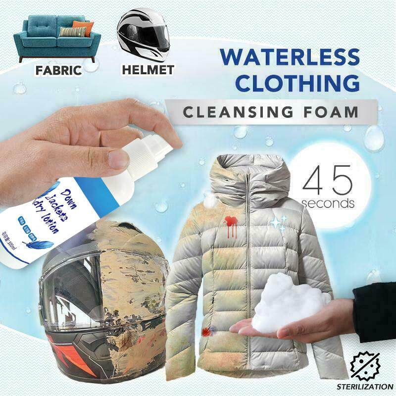 Waterless Clothing Cleansing Foam Clothing Decontamination Cleaner Remove Grease 100ML