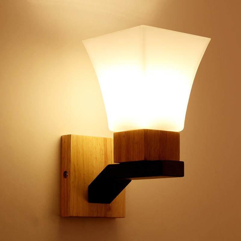 QUKAU Modern E27 bulb solid wood wall lamp bedroom LED reading lamp wood art living room corridor hotel bedside lamp