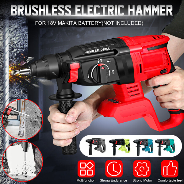 21V Electric Hammer Brushless Impact Wrench Drill Electric Screwdriver Compatible for Makita Battery