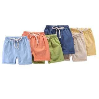 Quần Trẻ Em 27 Quần Short Dây Rút Vải Lanh Ngắn Vải Cotton Mềm Cho Trẻ Tập Đi thumbnail
