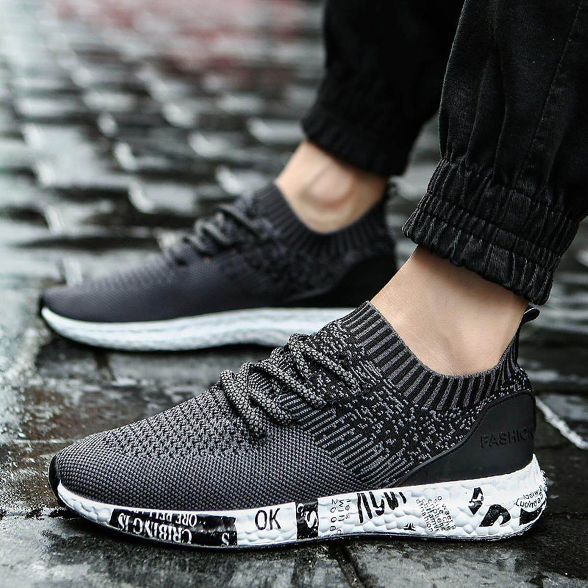 Gracosy brand fashion flying woven shoes breathable mesh sneakers couple shoes large size shoes