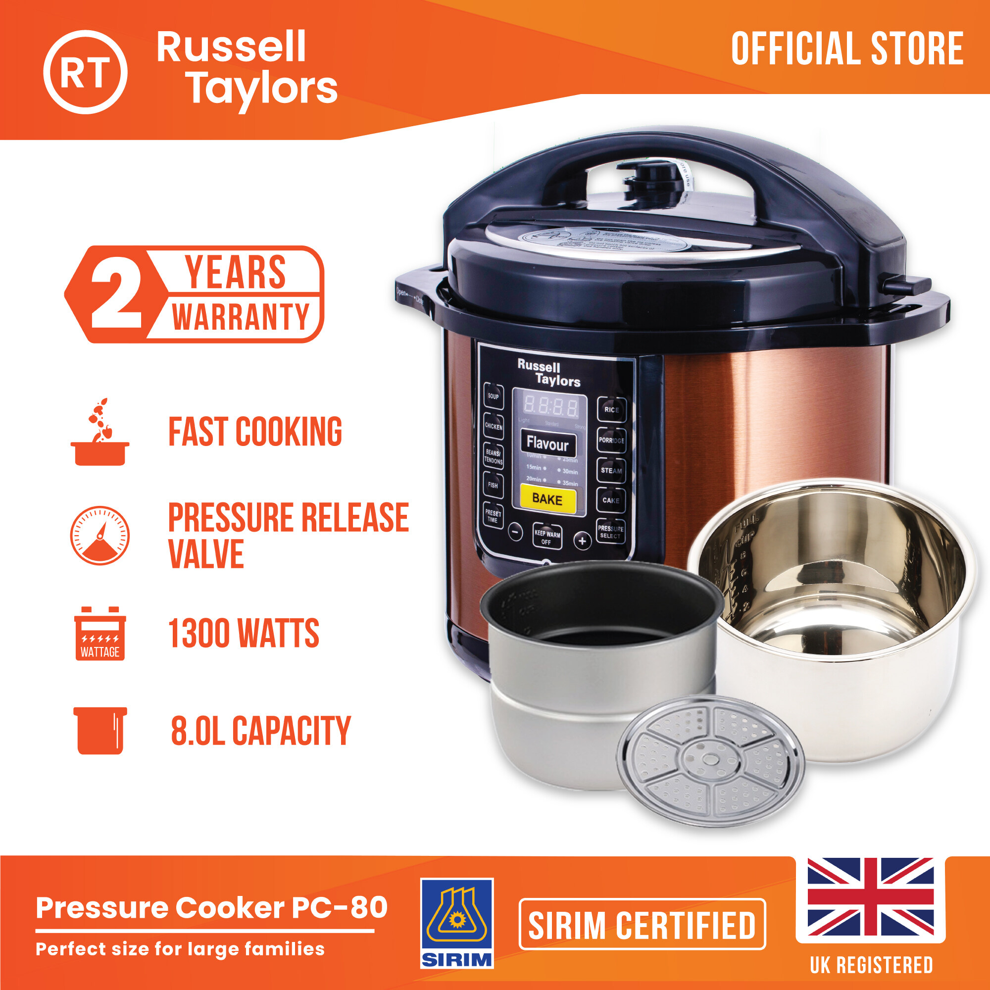 Russell Taylors 8L Dual Pot Pressure Cooker PC-80 (2 inner pots + 1 steam rack) Electric Rice Cooker Multi Cooker