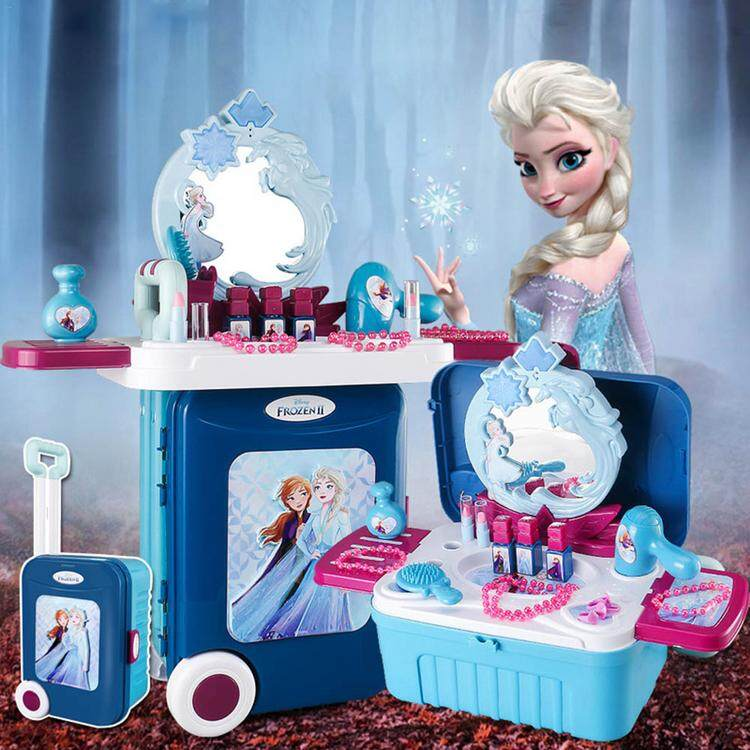 Pretend Play Makeup Table Frozen Makeup Table Toys Set Pretend Play Kids Toy Deformation Makeup Table Toys Set For Girls.