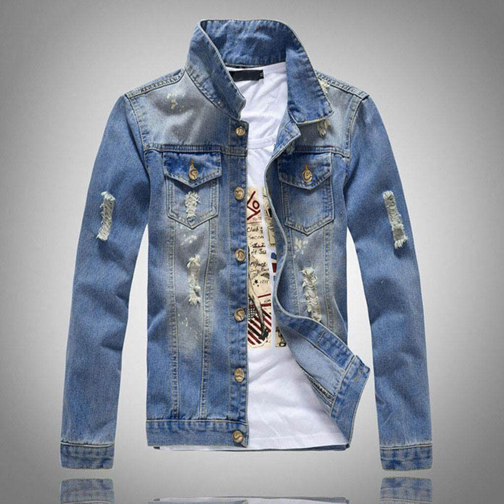 a6f4bf036af23b Featured Men s New Style And Fashion Denim Jacket Light Coloured Long  Sleeved Coat