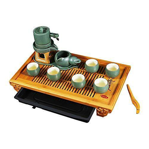 Ufine Bamboo Tea Tray 19.7 inch Large Tea Serving Tray with Water Storage Drainage Chinese Gongfu Tea Table Gift Set Home Office