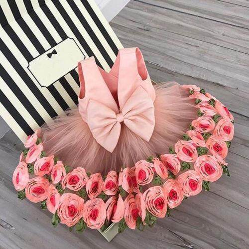 4b69c7c363653 Flower Girl Dress 3D Rose Party Pageant Dress Princess Kids Baby Outfits  Costume
