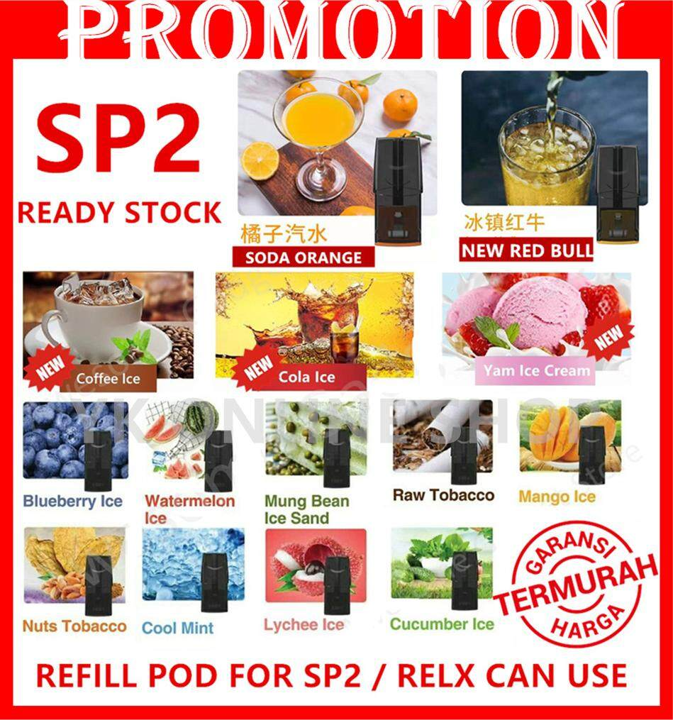 New Red Bull / Soda orange  Ready Stock Springtime SP2 Pod RELX Pod  suitaible for Relx Kit (3Pcs in 1Box) Malaysia