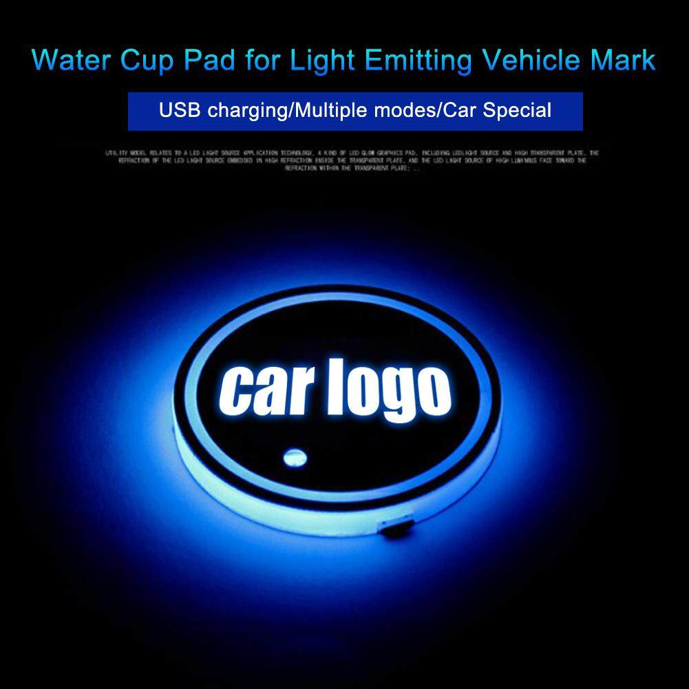 2PCS 7 Color LED Car Cup Holder Mat Coaster for FIAT Atmosphere Light Pad