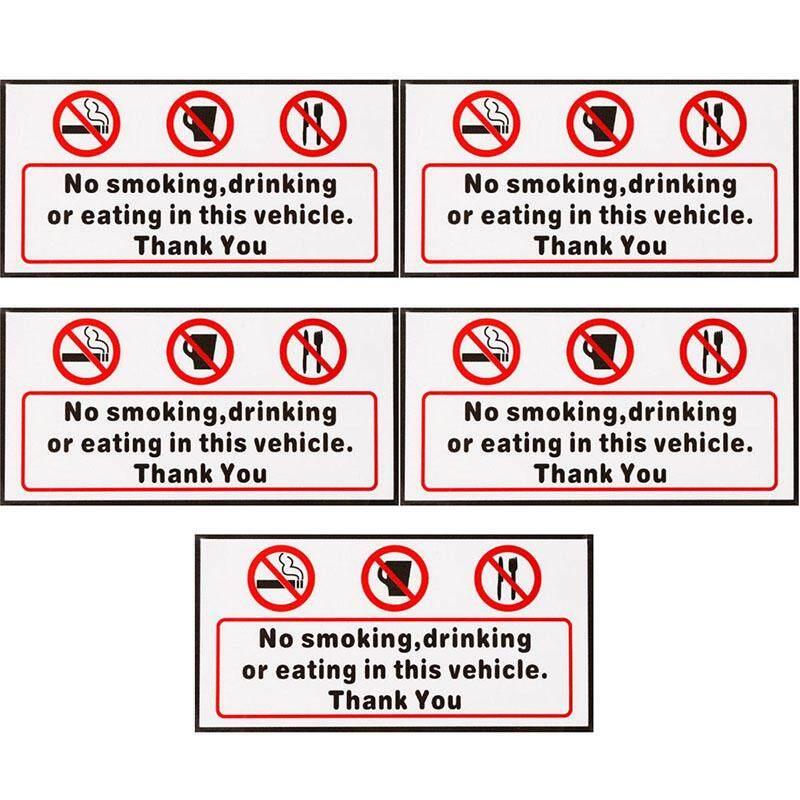 5pcs No Smoking Eating Drinking in This Vehicle Signs Sticker Car Van Bus Vinyl Decal