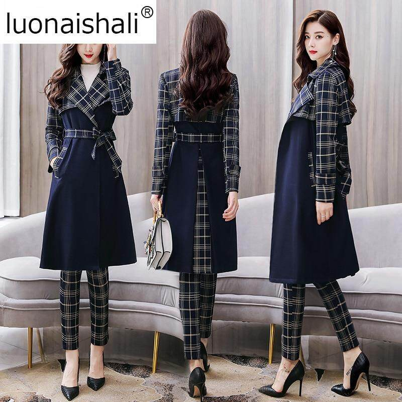 Womens Blazer Suits Office Lady Suit 2 Pieces Set Long Trench Coat And Wide Leg Pants Suit By Longze.