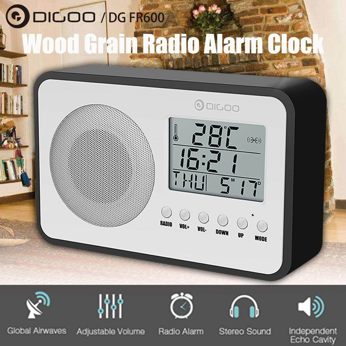Digoo DG FR600 SmartSet Wireless Wood Grain Vintage Digital FM Radio Alarm Clock Subwoofer Sound with Temperature Display
