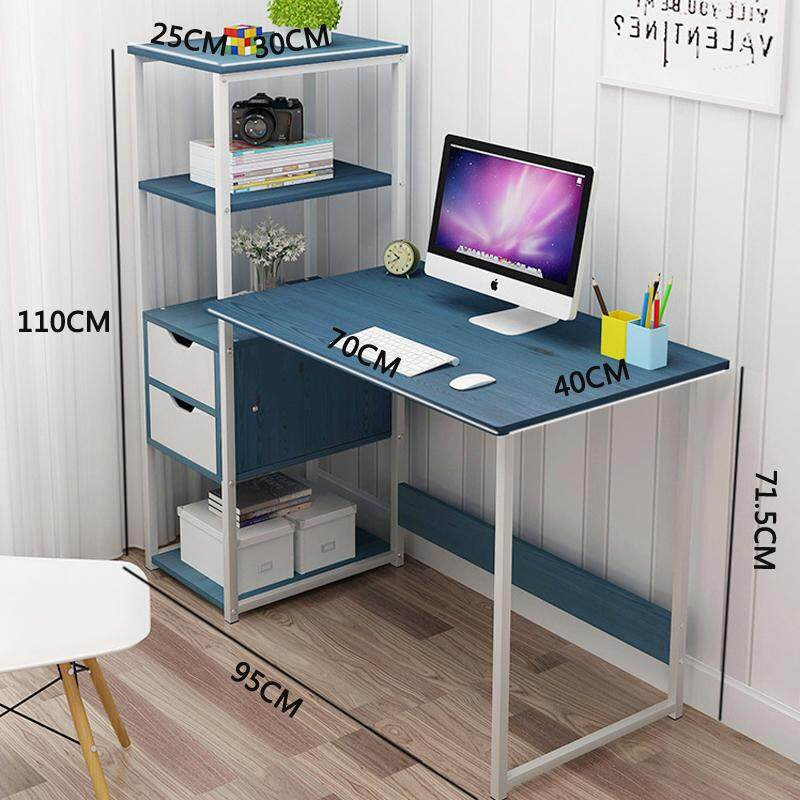 95cm in Width, Complete Computer Workstation Desk With Storage Drawers and Shelves, Wooden Home Office Style, Laptop Notebook PC Workstation, Study Writing Reading Table