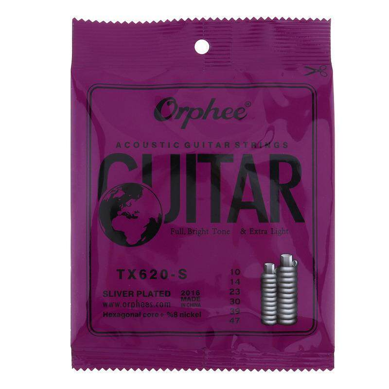 Orphee 6pcs/set Acoustic Guitar Strings Special Silver Plated Anti-Rust Hexagonal core+8% Nickel Extra Light TX620-S Malaysia