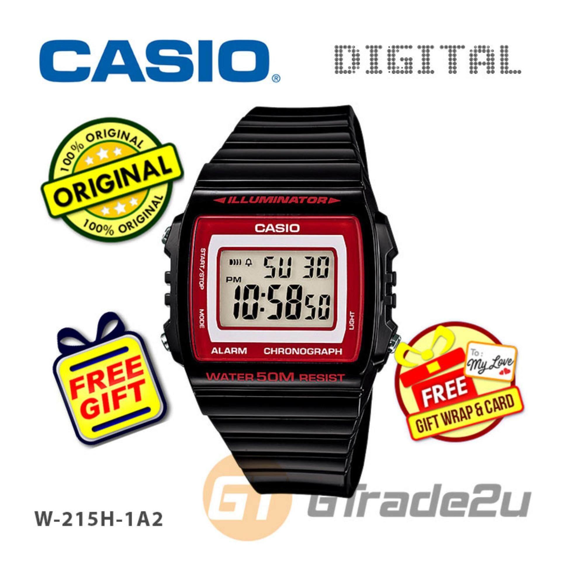 Casio Standard Mens Black Resin Strap Watch W-215H-1A2V Malaysia