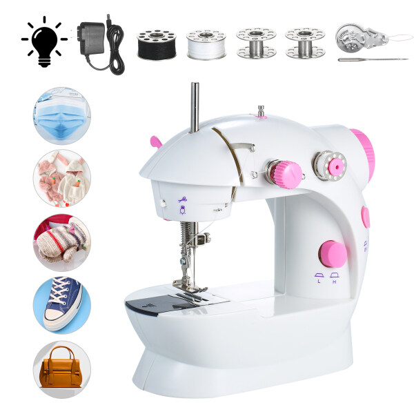 Mini Sewing Machine Adjustable 2-Speed Double Thread Portable Electric Household Multifunction Sewing Machin with Lights and Cutter Foot Pedal for Household Travel Beginner Face Mask DIY