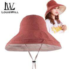 LouisWill Women Sun Hat Female UV Protection Hat Collapsible Summer Beach Cap 2 Sides to Wear Panama Beach Cap Wide Brim Anti-UV Cap Sun Shade Hat with Detachable Wind Rope