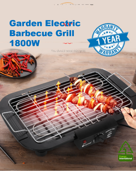 Garden Electric Barbecue Grill, Smokeless Portable BBQ Grilling with 5 Levels, Stainless Steel Pick Up Oil Pan, 1800W High Power BBQ Gril