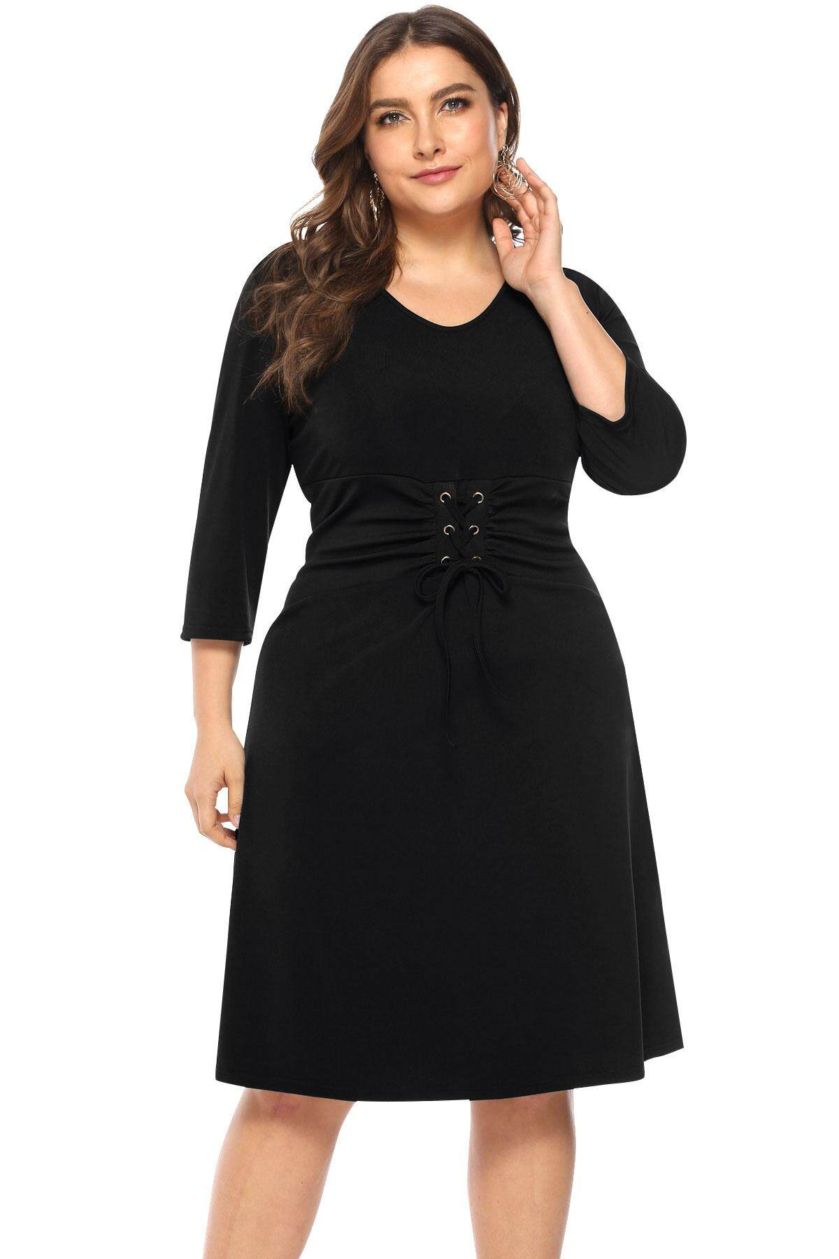 0c9b17293a71f  Buy 1 Item Shipping Free  Plus Size Dress Autumn Winter Women Plus Size  O-neck Lace-up Solid Color Casual Dress