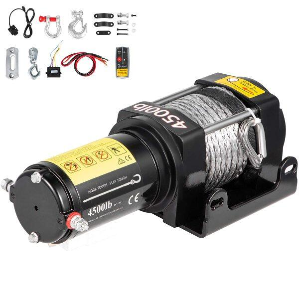 Electric Winch 4500LBS 12V Synthetic Rope 4WD ATV UTV Winch Towing Truck