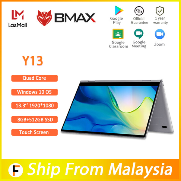 [1 Year Warranty] BMAX official Y13 360° Laptop 13.3 inch Notebook Windows 10 8GB LPDDR4 256/512GB/1T SSD 1920*1080 IPS Intel N4120/N4100 touch screen laptops Malaysia