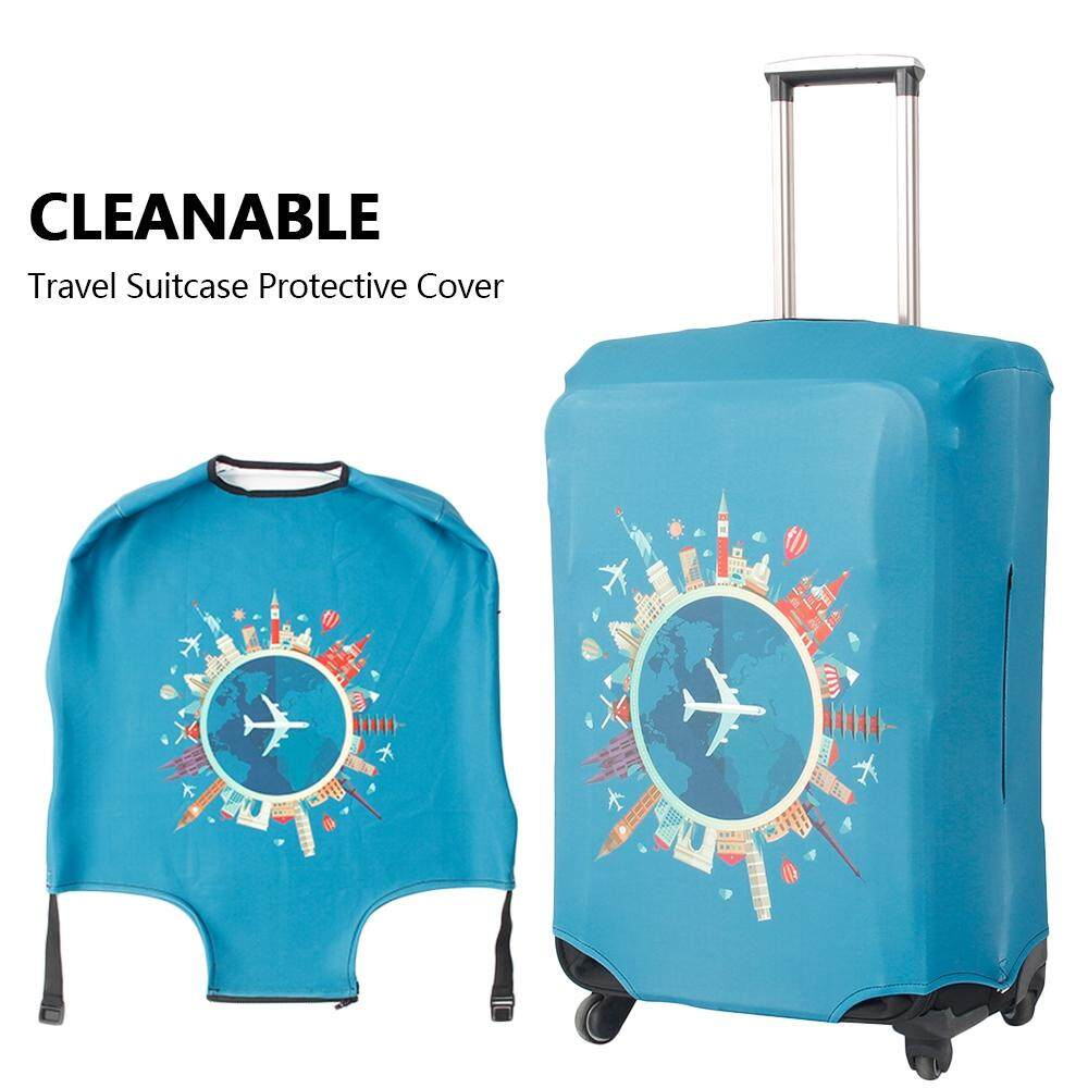 Elastic Thick Material for Travel Airplane Pattern Suitcase Cover Global Travel