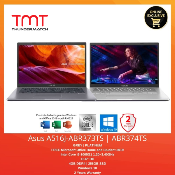 Asus A516J-ABR373TS / ABR374TS | i3-1005G1 | 4GB 256GB SSD | 15.6 | Free Office Home and Student Malaysia