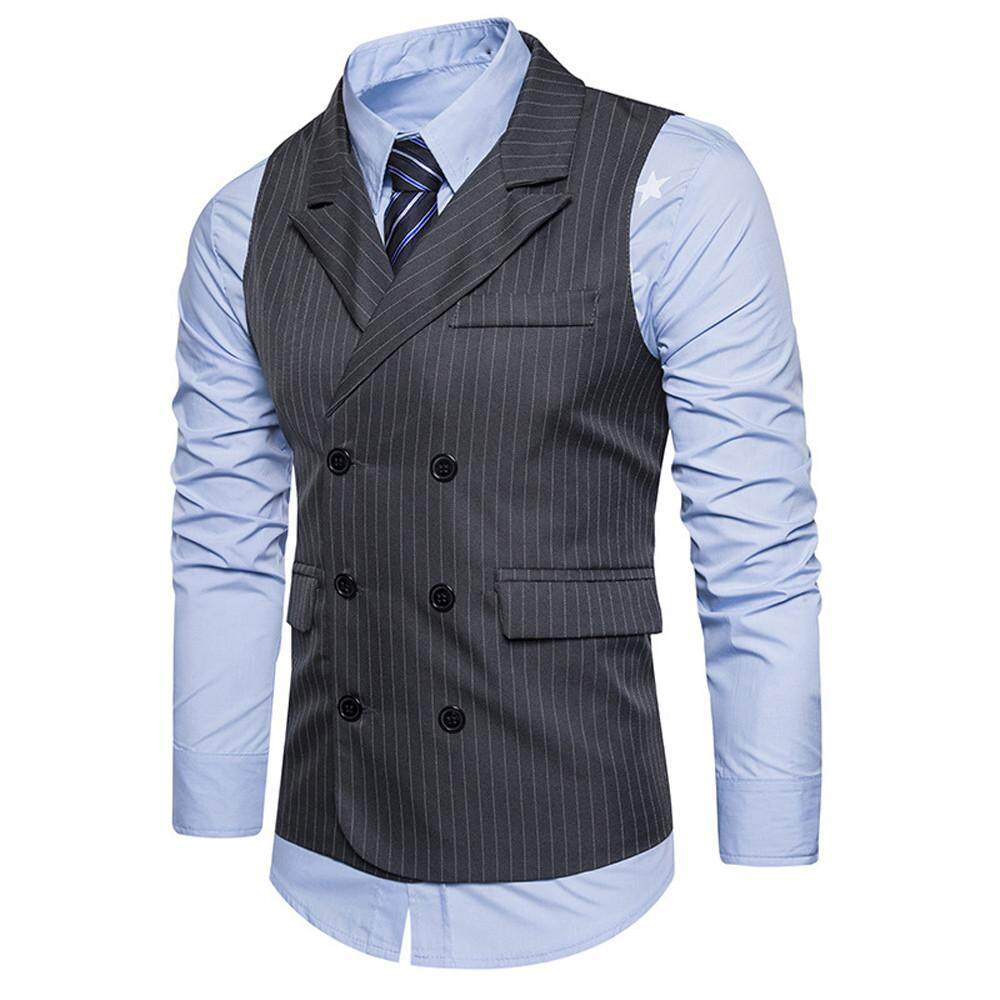 Vivimall Men Formal Tweed Check Double Breasted Waistcoat Retro Slim Fit Suit Jacket By Vivimall.