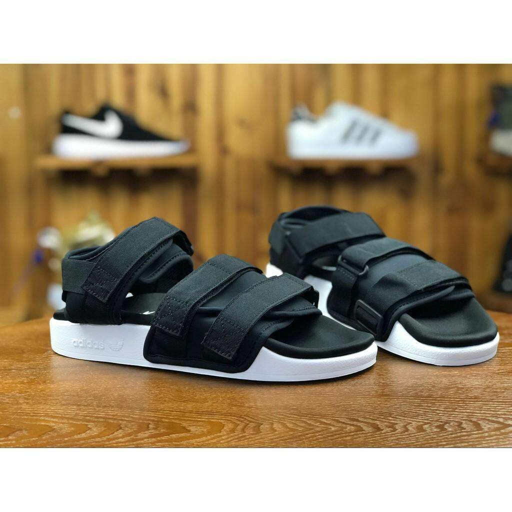 cd9fa359fdc2 Adidas Adidas Clover Adilette Sandal Black and White Velcro Men and Women  Shoes Beach Sandals