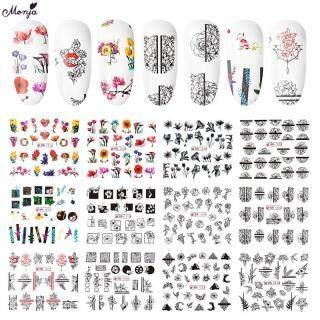 Bộ 12 miếng dán đề can màu đen trắng sử dụng nước để trang trí móng tay nhiều kiểu dáng, dụng cụ trang trí móng - INTL thumbnail
