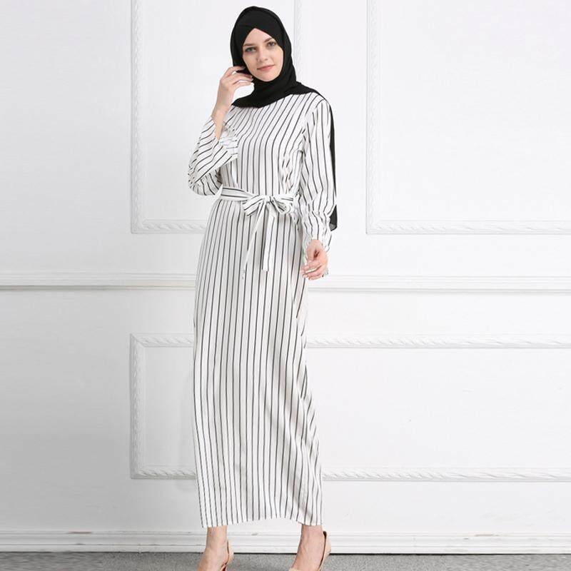 b7b1b169b2 MISSJOY kleid Dubai Open Abaya Muslim Party dresses Women Kaftan Cotton  Striped Turkish Islamic Arab Women